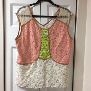 Anthropologie | Champagne & Strawbere  Lace Top XL
